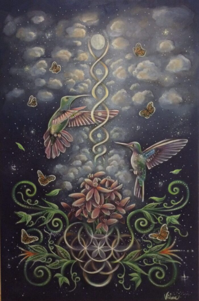 Painting of collibris that fly away